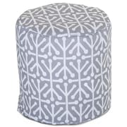 Majestic Home Goods Outdoor Polyester Aruba Small Pouf Ottoman, Gray