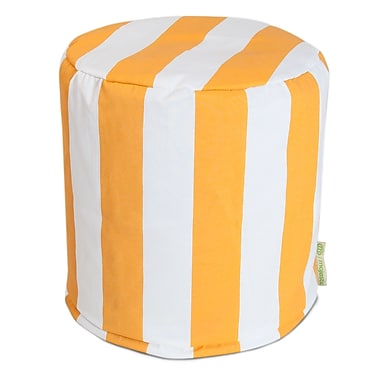 Majestic Home Goods Outdoor Polyester Vertical Stripe Small Pouf Ottoman, Yellow