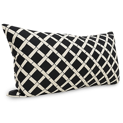 Majestic Home Goods Indoor/Outdoor Bamboo Small Pillow, Black
