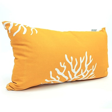 Majestic Home Goods Indoor/Outdoor Coral Small Pillow, Yellow