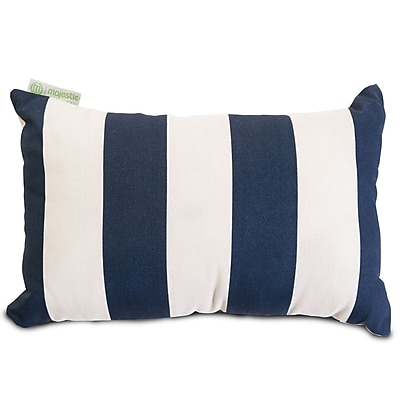 Majestic Home Goods Indoor/Outdoor Vertical Stripe Small Pillow, Navy Blue