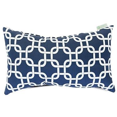 Majestic Home Goods Indoor/Outdoor Links Small Indoor/Outdoor Pillow, Navy Blue