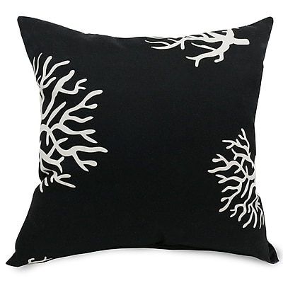 Majestic Home Goods Indoor/Outdoor Coral Large Pillow, Black
