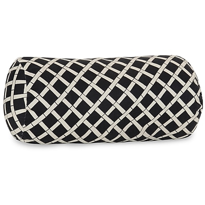 Majestic Home Goods Indoor/Outdoor Bamboo Round Bolster Pillow, Black