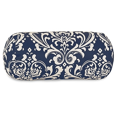 Majestic Home Goods Indoor/Outdoor French Quarter Round Bolster Pillow, Navy Blue