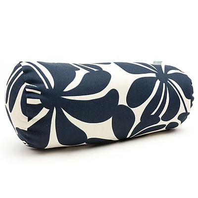 Majestic Home Goods Indoor/Outdoor Plantation Round Bolster Pillow, Navy Blue