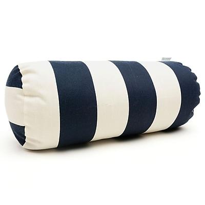 Majestic Home Goods Indoor/Outdoor Vertical Stripe Round Bolster Pillow, Navy Blue