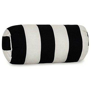 Majestic Home Goods Indoor/Outdoor Vertical Stripe Round Bolster Pillow, Black