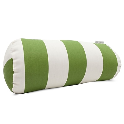 Majestic Home Goods Indoor/Outdoor Vertical Stripe Round Bolster Pillow, Sage