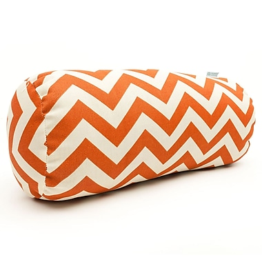 Majestic Home Goods Indoor/Outdoor Chevron Round Bolster Pillow, Burnt Orange