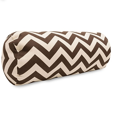 Majestic Home Goods Indoor/Outdoor Chevron Round Bolster Pillow, Chocolate