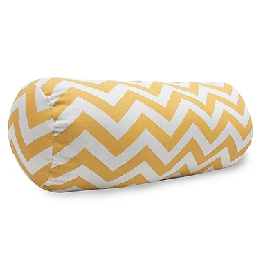 Majestic Home Goods Indoor/Outdoor Chevron Round Bolster Pillow, Yellow