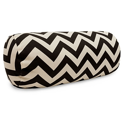 Majestic Home Goods Indoor/Outdoor Chevron Round Bolster Pillow, Black