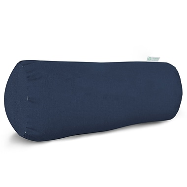 Majestic Home Goods Indoor/Outdoor Solid Round Bolster Pillow, Navy Blue