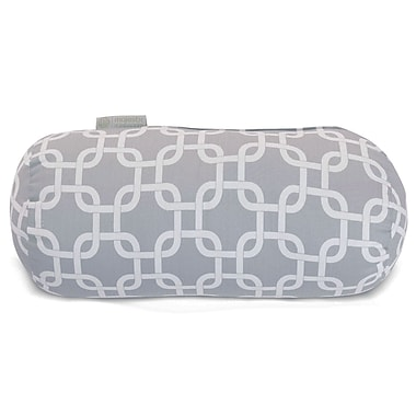 Majestic Home Goods Indoor/Outdoor Links Round Bolster Indoor/Outdoor Pillow, Gray