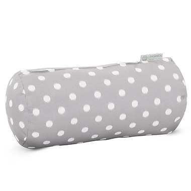 Majestic Home Goods Indoor/Outdoor Ikat Dot Round Bolster Pillow, Gray