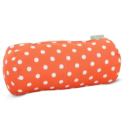 Majestic Home Goods Indoor/Outdoor Ikat Dot Round Bolster Pillow, Orange