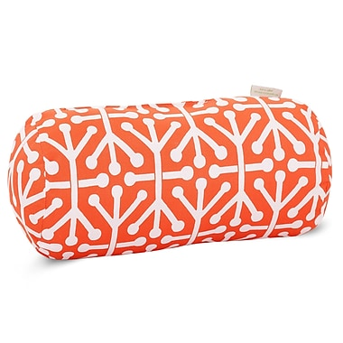 Majestic Home Goods Indoor/Outdoor Aruba Round Bolster Pillow, Orange