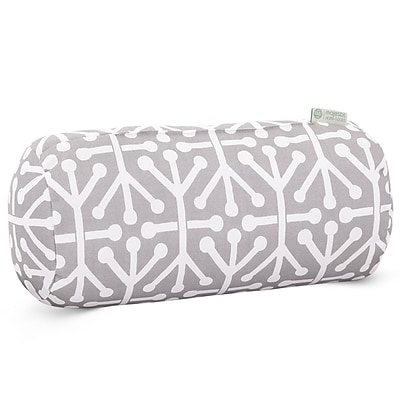 Majestic Home Goods Indoor/Outdoor Aruba Round Bolster Pillow, Gray