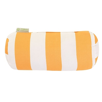 Majestic Home Goods Indoor/Outdoor Vertical Stripe Round Bolster Pillow, Yellow