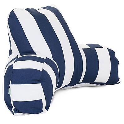 Majestic Home Goods Outdoor/Indoor Vertical Stripe Reading Pillow, Navy Blue