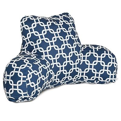 Majestic Home Goods Outdoor/Indoor Links Reading Pillow, Navy Blue