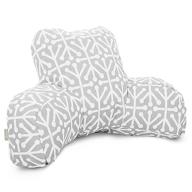 Majestic Home Goods Outdoor/Indoor Aruba Reading Pillow, Gray