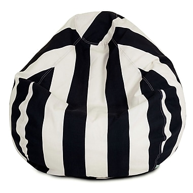 Majestic Home Goods Outdoor Vertical Stripe Polyester Small Classic Bean Bag Chairs