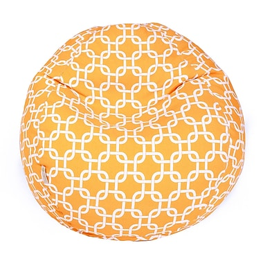 Majestic Home Goods Indoor/Outdoor Links Polyester Small Classic Bean Bag Chair, Yellow
