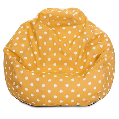 Majestic Home Goods Indoor/Outdoor Ikat Dot Polyester Small Classic Bean Bag Chair, Citrus
