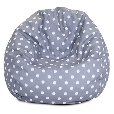 Majestic Home Goods Indoor/Outdoor Ikat Dot Polyester Small Classic Bean Bag Chair, Gray