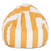 Majestic Home Goods Outdoor Vertical Stripe Polyester Small Classic Bean Bag Chair, Yellow
