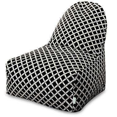 Majestic Home Goods Indoor/Outdoor Bamboo Polyester Kick-It Bean Bag Chair, Black