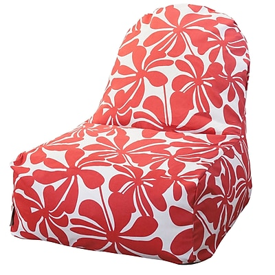 Majestic Home Goods Indoor/Outdoor Plantation Polyester Kick-It Bean Bag Chair, Red