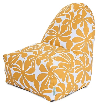 Majestic Home Goods Indoor/Outdoor Plantation Polyester Kick-It Bean Bag Chair, Yellow