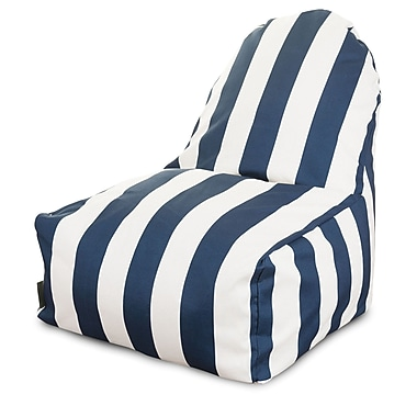 Majestic Home Goods Indoor/Outdoor Vertical Stripe Polyester Kick-It Bean Bag Chair, Navy Blue