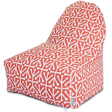Majestic Home Goods Indoor/Outdoor Aruba Polyester Kick-It Bean Bag Chair, Orange