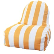Majestic Home Goods Indoor/Outdoor Vertical Stripe Polyester Kick-It Bean Bag Chair, Yellow