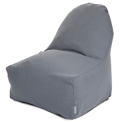 Majestic Home Goods Indoor Wales Cotton Duck/Twill Kick-It Bean Bag Chair, Gray