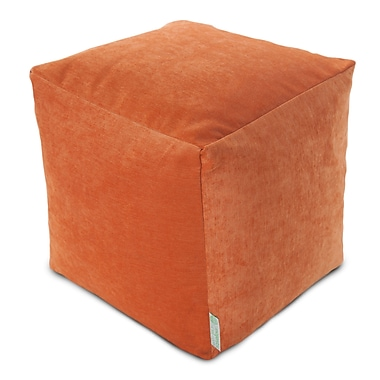 Majestic Home Goods Indoor Villa Polyester Micro-Velvet Small Cube, Orange