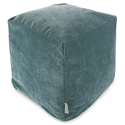 Majestic Home Goods Indoor Villa Polyester Micro-Velvet Small Cube, Azure