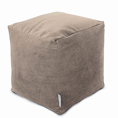 Majestic Home Goods Indoor Villa Polyester Micro-Velvet Small Cube, Pearl