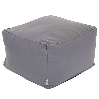 Majestic Home Goods Indoor Poly/Cotton Twill Wales Large Ottoman, Gray
