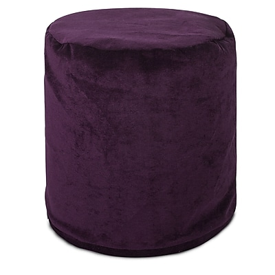 Majestic Home Goods Indoor Villa Polyester Micro-Velvet Small Pouf, Aubergine