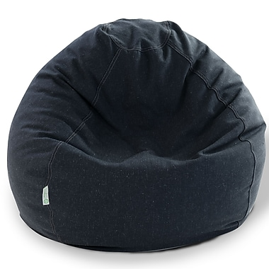 Majestic Home Goods Indoor Wales Polyester/Linen Small Classic Bean Bag Chair, Navy