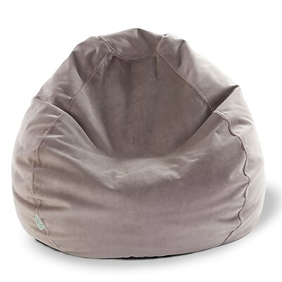 Majestic Home Goods Indoor Polyester Micro-Velvet Bean Bag Chair, Steel (85907264006)