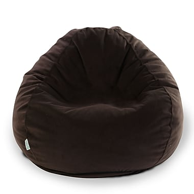 Majestic Home Goods Indoor Polyester Micro-Velvet Bean Bag Chair, Dark Brown (85907264007)