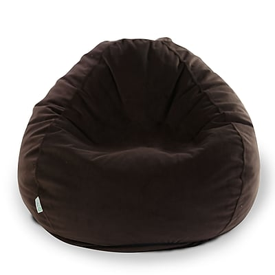 Majestic Home Goods Indoor Polyester Micro-Velvet Bean Bag Chair, Dark Brown (85907264007)