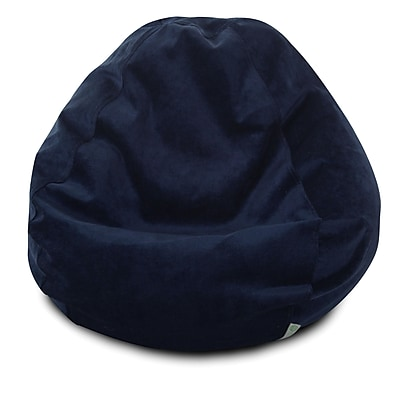 Majestic Home Goods Indoor Polyester Micro-Velvet Bean Bag Chair, Navy (85907264031)