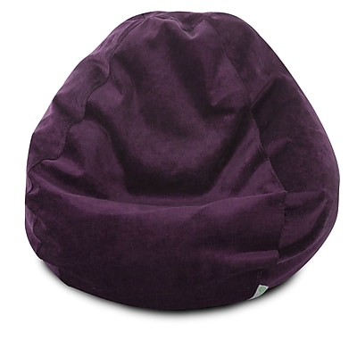 Majestic Home Goods Indoor Polyester Micro-Velvet Bean Bag Chair, Aubergine (85907264033)
